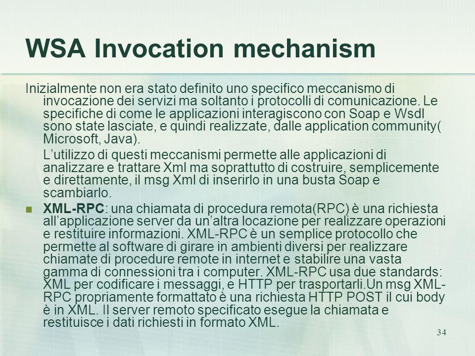 34 WSA Invocation mechanism Inizialmente non era stato definito uno specifico meccanismo di invocazione dei servizi ma soltanto i protocolli di comunicazione.