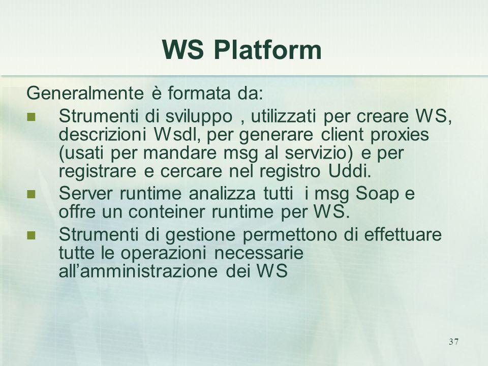 37 WS Platform Generalmente è formata da: Strumenti di sviluppo, utilizzati per creare WS, descrizioni Wsdl, per generare client proxies (usati per mandare msg al servizio) e per registrare e cercare nel registro Uddi.