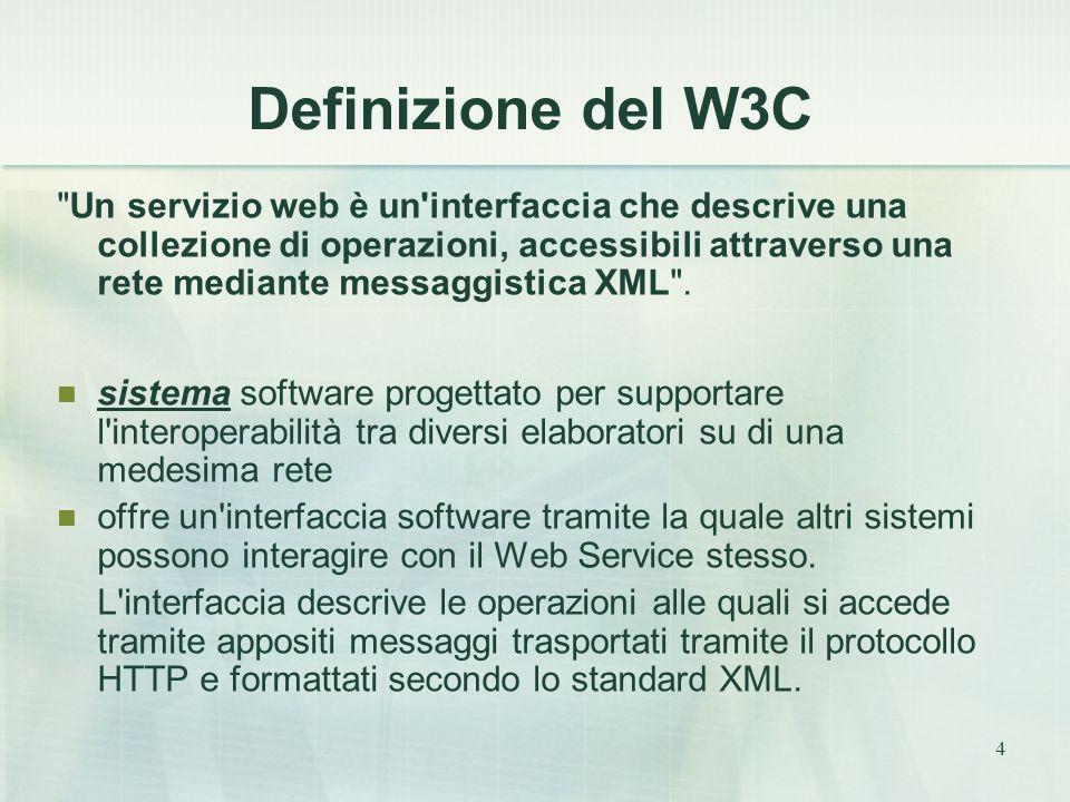 4 Definizione del W3C Un servizio web è un interfaccia che descrive una collezione di operazioni, accessibili attraverso una rete mediante messaggistica XML .