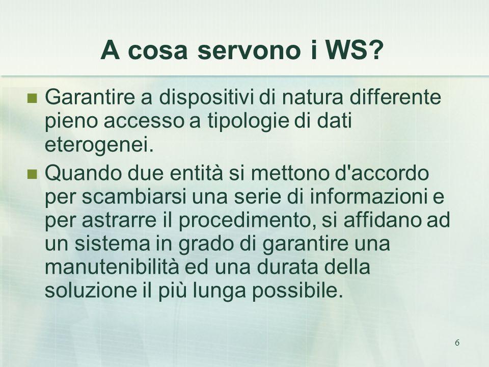 6 A cosa servono i WS? Garantire a dispositivi di natura differente pieno accesso a tipologie di dati eterogenei. Quando due entità si mettono d'accor