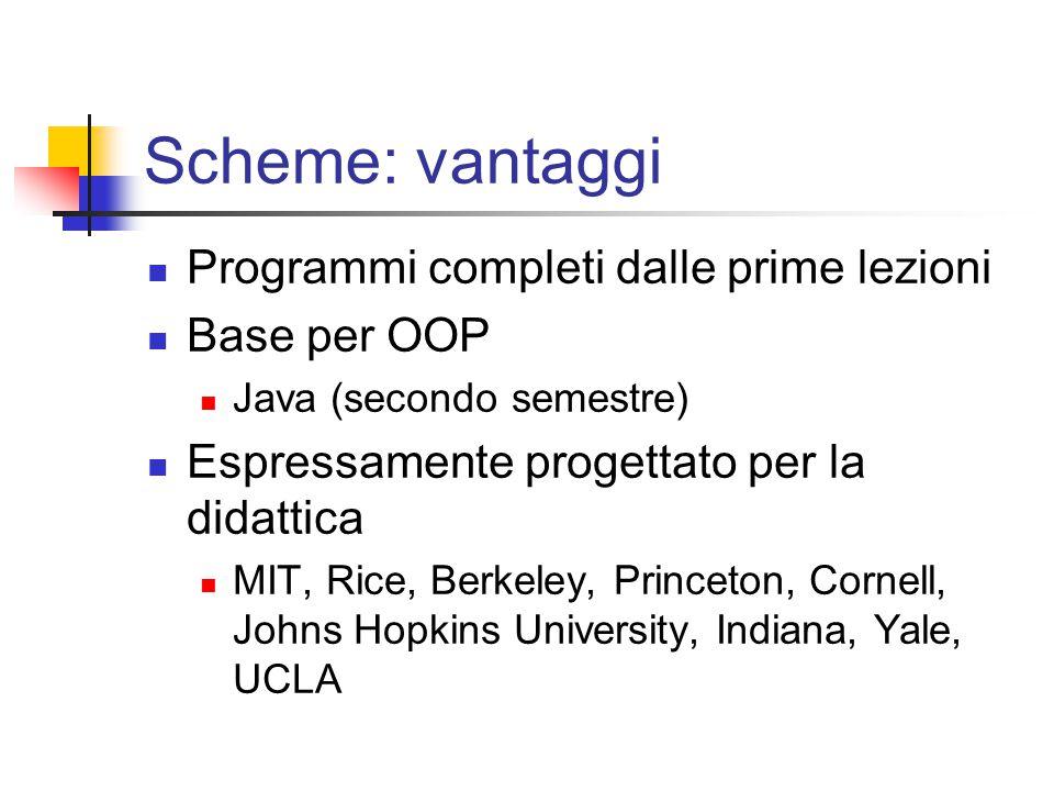 Scheme: vantaggi Programmi completi dalle prime lezioni Base per OOP Java (secondo semestre) Espressamente progettato per la didattica MIT, Rice, Berkeley, Princeton, Cornell, Johns Hopkins University, Indiana, Yale, UCLA
