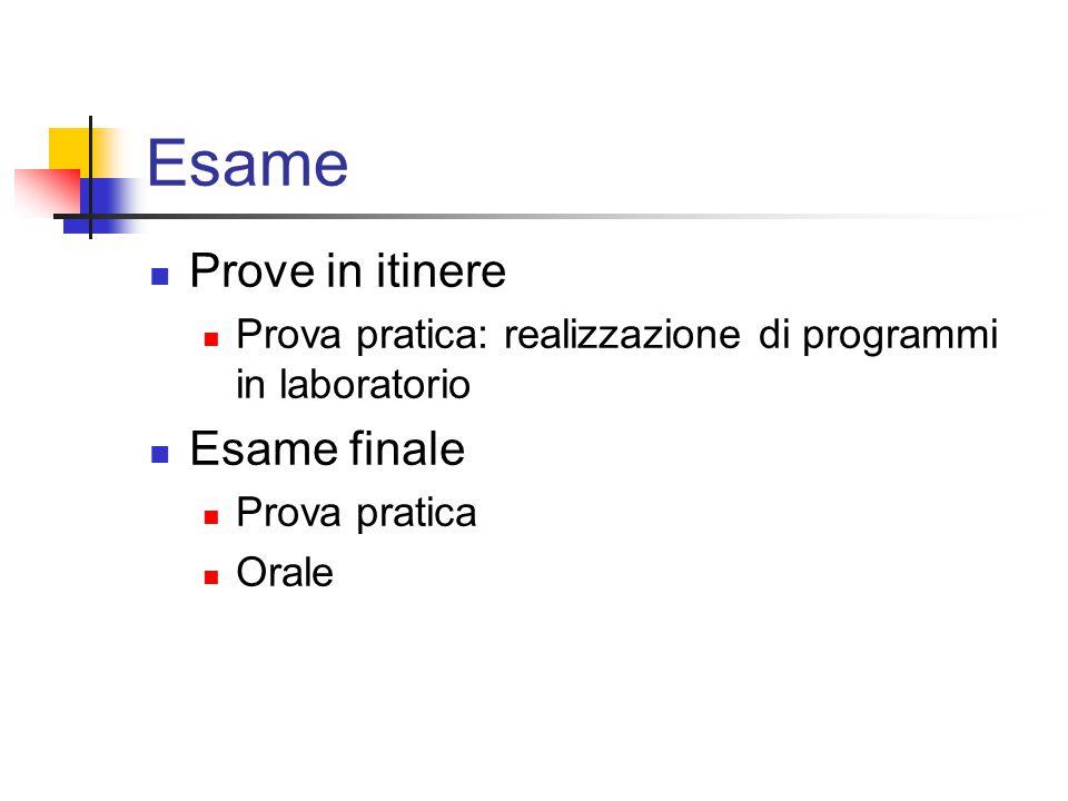 Esame Prove in itinere Prova pratica: realizzazione di programmi in laboratorio Esame finale Prova pratica Orale
