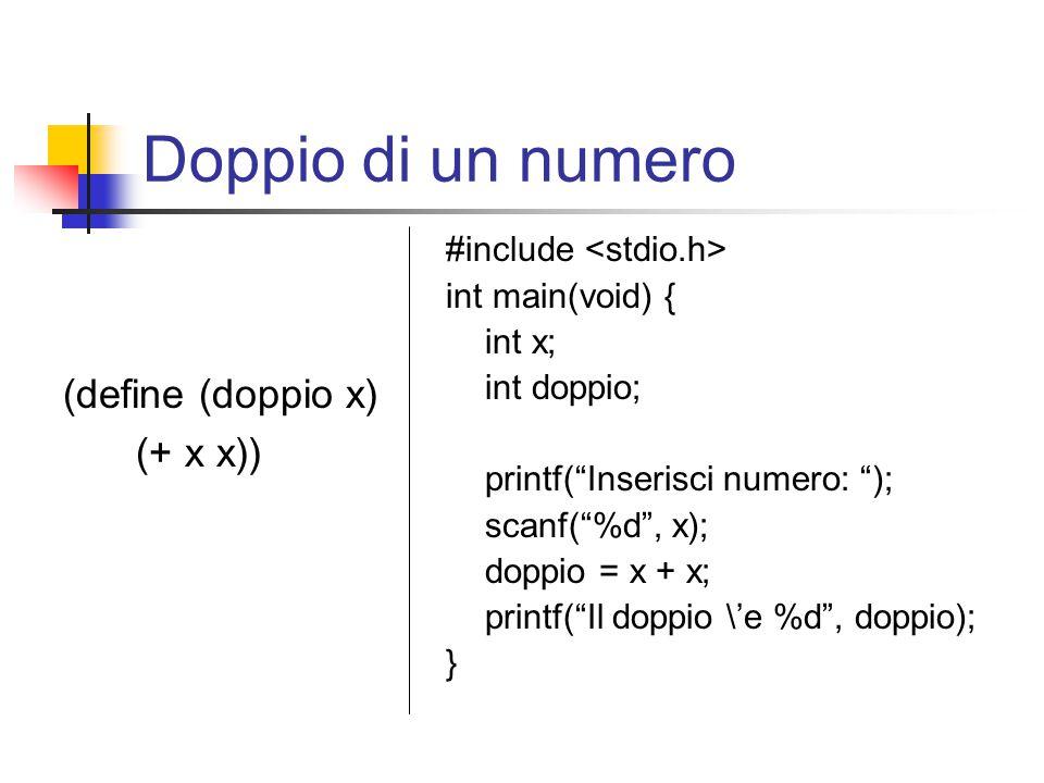 Doppio di un numero (define (doppio x) (+ x x)) #include int main(void) { int x; int doppio; printf( Inserisci numero: ); scanf( %d , x); doppio = x + x; printf( Il doppio \'e %d , doppio); }