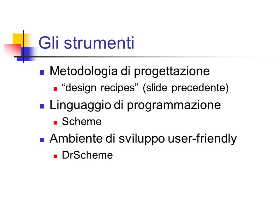 Gli strumenti Metodologia di progettazione design recipes (slide precedente) Linguaggio di programmazione Scheme Ambiente di sviluppo user-friendly DrScheme