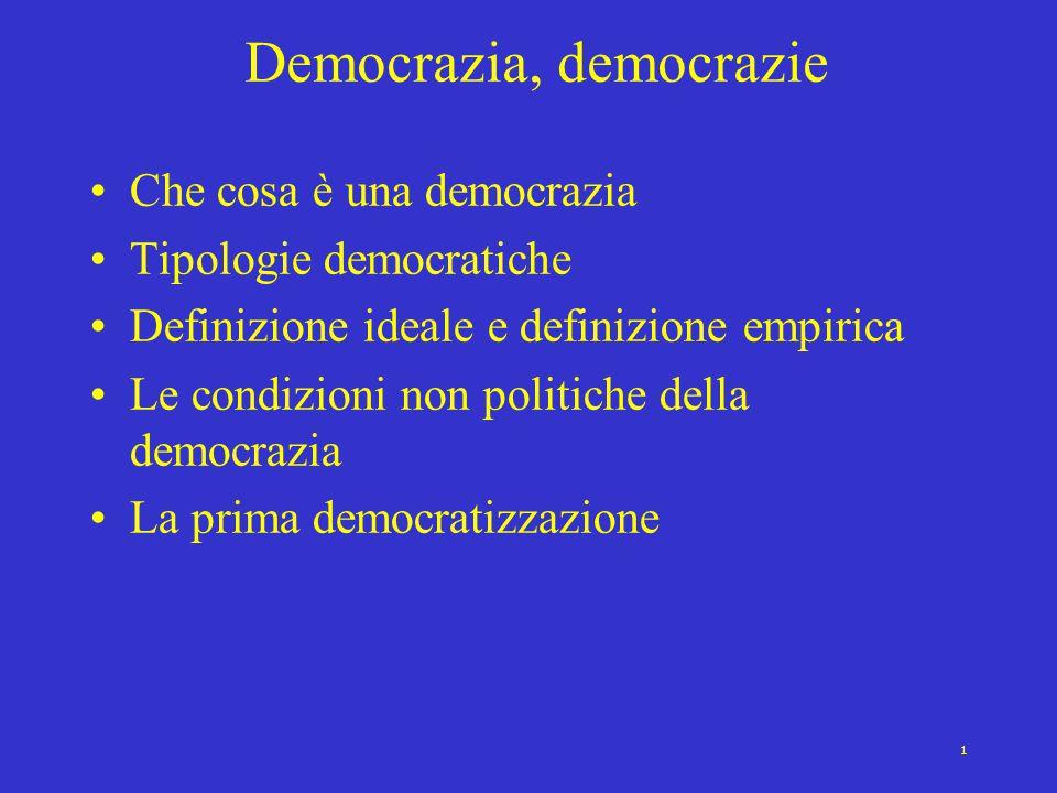 1 Democrazia, democrazie Che cosa è una democrazia Tipologie democratiche Definizione ideale e definizione empirica Le condizioni non politiche della