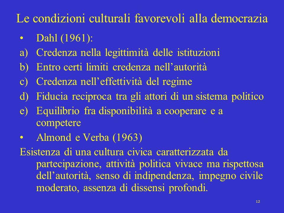 12 Le condizioni culturali favorevoli alla democrazia Dahl (1961): a)Credenza nella legittimità delle istituzioni b)Entro certi limiti credenza nell'a