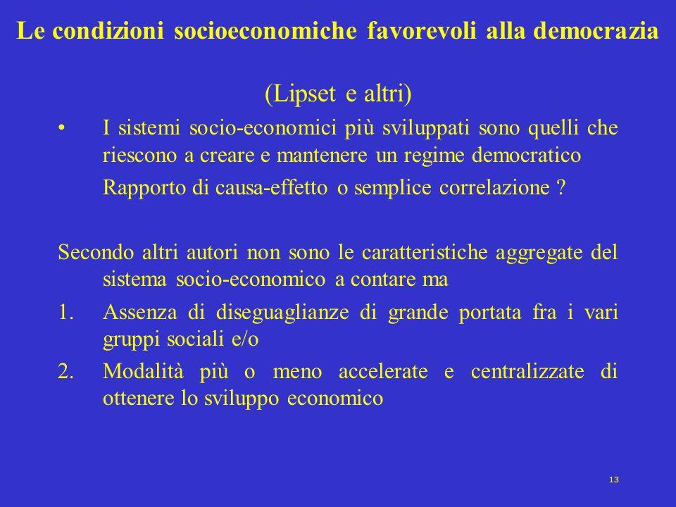 13 Le condizioni socioeconomiche favorevoli alla democrazia (Lipset e altri) I sistemi socio-economici più sviluppati sono quelli che riescono a crear