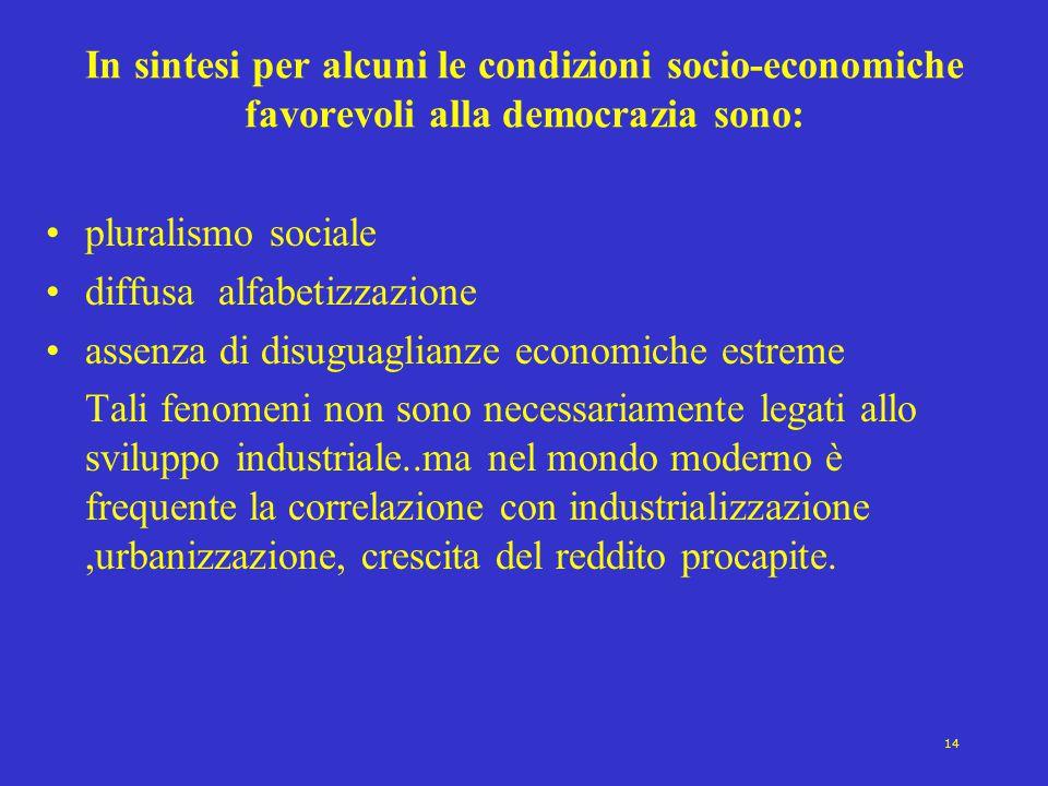 14 In sintesi per alcuni le condizioni socio-economiche favorevoli alla democrazia sono: pluralismo sociale diffusa alfabetizzazione assenza di disugu