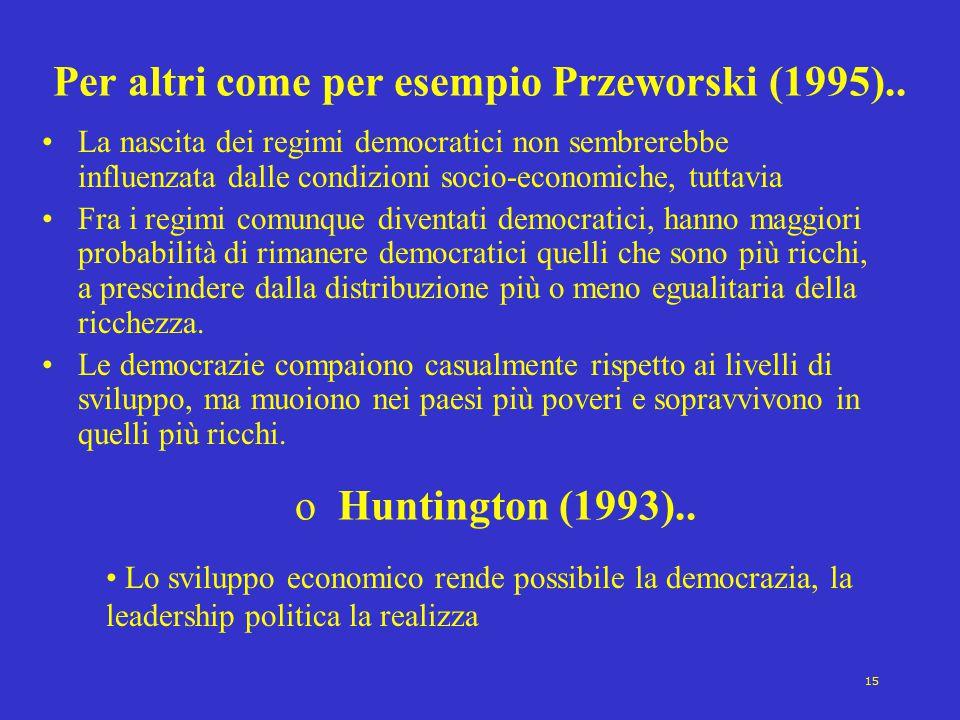 15 Per altri come per esempio Przeworski (1995).. La nascita dei regimi democratici non sembrerebbe influenzata dalle condizioni socio-economiche, tut