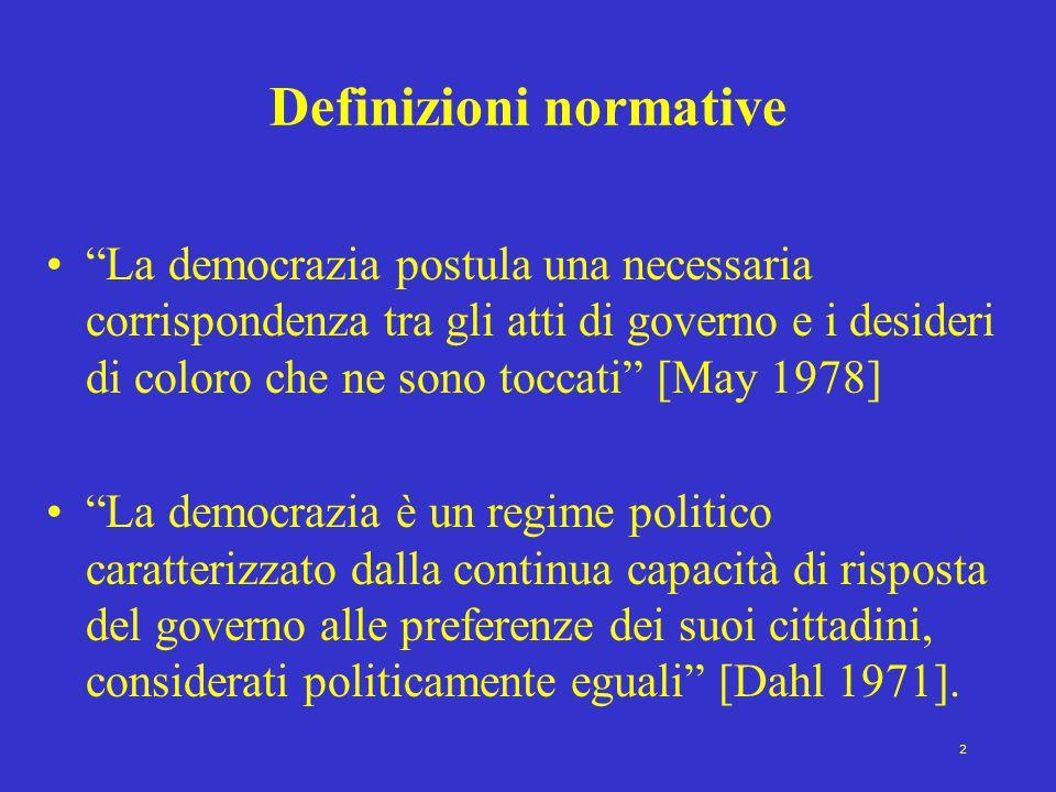 """2 Definizioni normative """"La democrazia postula una necessaria corrispondenza tra gli atti di governo e i desideri di coloro che ne sono toccati"""" [May"""