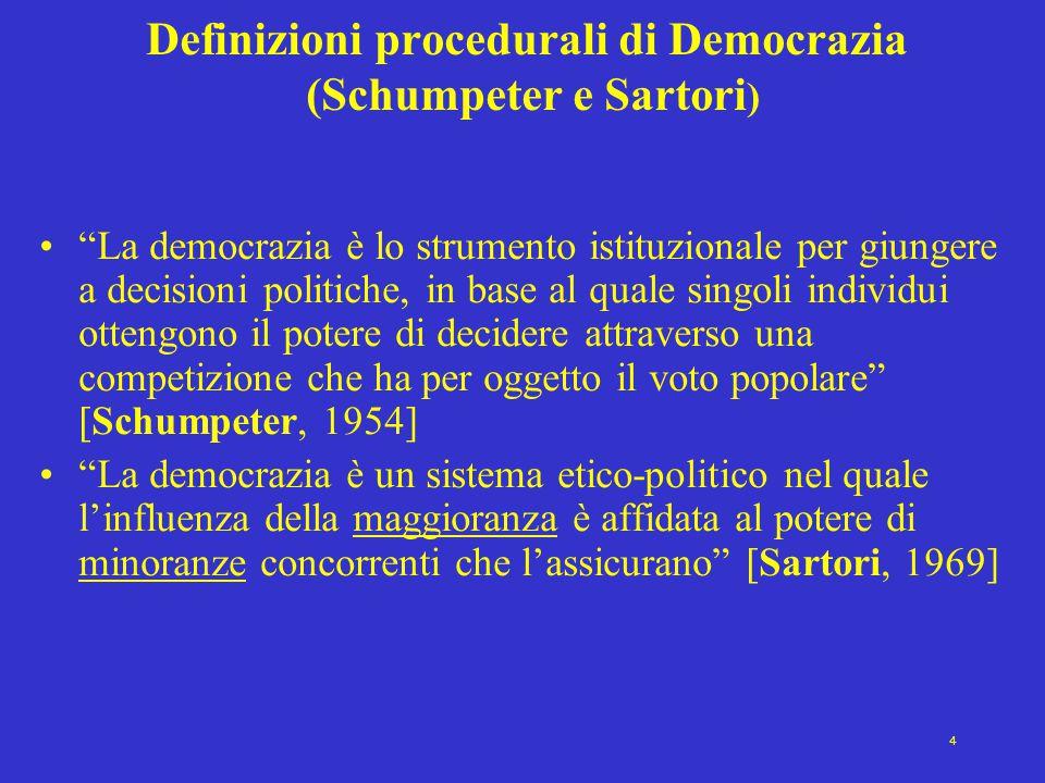 """4 Definizioni procedurali di Democrazia (Schumpeter e Sartori ) """"La democrazia è lo strumento istituzionale per giungere a decisioni politiche, in bas"""