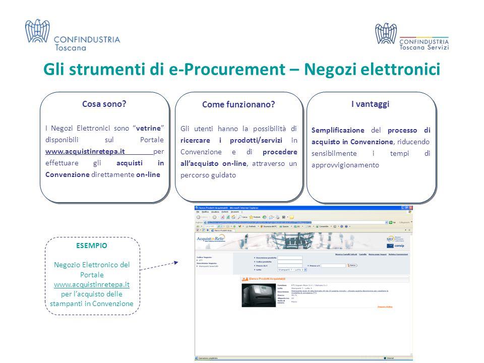 Gli strumenti di e-Procurement – Negozi elettronici I vantaggi Semplificazione del processo di acquisto in Convenzione, riducendo sensibilmente i temp