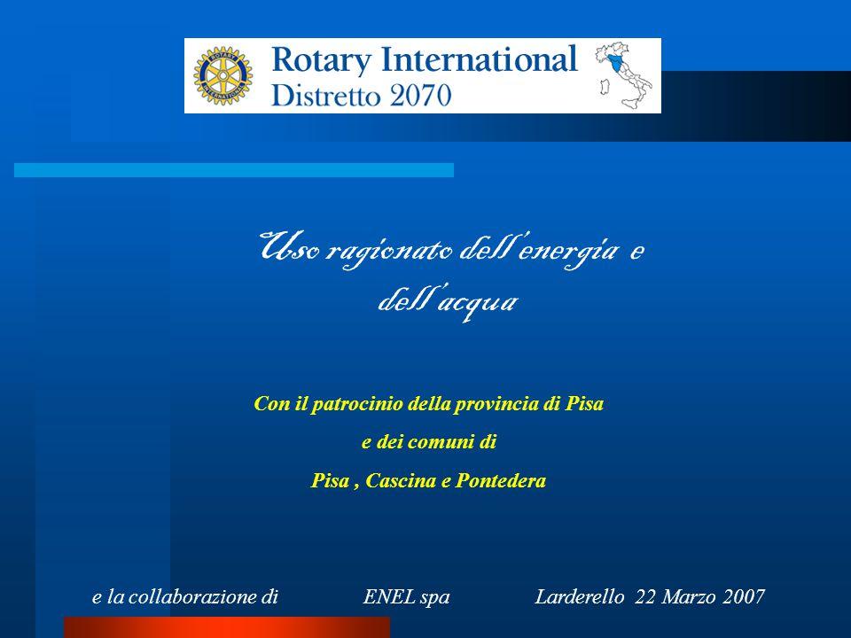 Uso ragionato dell'energia e dell'acqua Con il patrocinio della provincia di Pisa e dei comuni di Pisa, Cascina e Pontedera e la collaborazione di ENEL spa Larderello 22 Marzo 2007