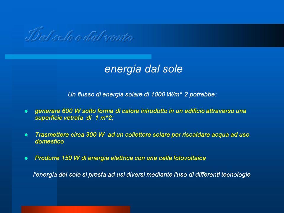 energia dal sole Un flusso di energia solare di 1000 W/m^ 2 potrebbe: generare 600 W sotto forma di calore introdotto in un edificio attraverso una superficie vetrata di 1 m^2; Trasmettere circa 300 W ad un collettore solare per riscaldare acqua ad uso domestico Produrre 150 W di energia elettrica con una cella fotovoltaica l'energia del sole si presta ad usi diversi mediante l'uso di differenti tecnologie