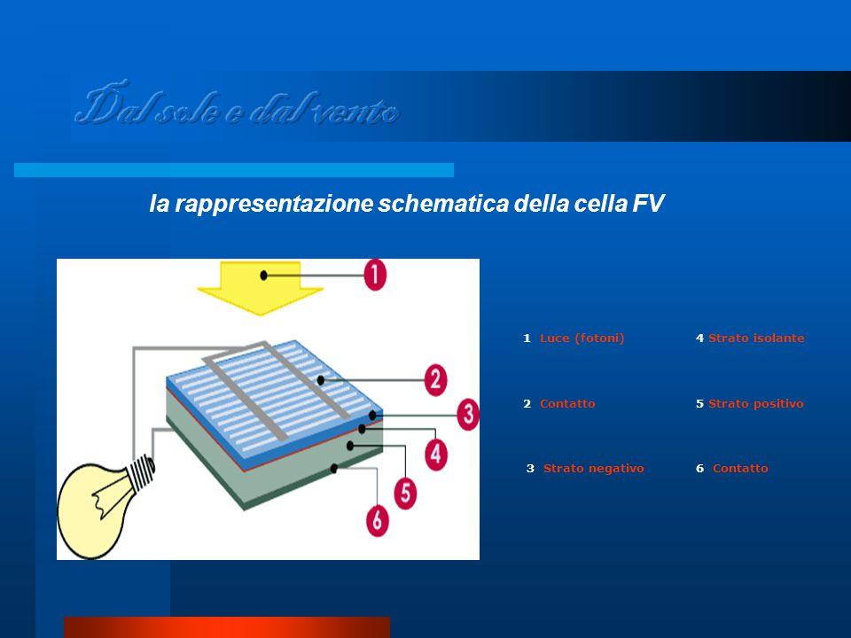 la rappresentazione schematica della cella FV 1 Luce (fotoni)4 Strato isolante 2 Contatto5 Strato positivo 3 Strato negativo6 Contatto