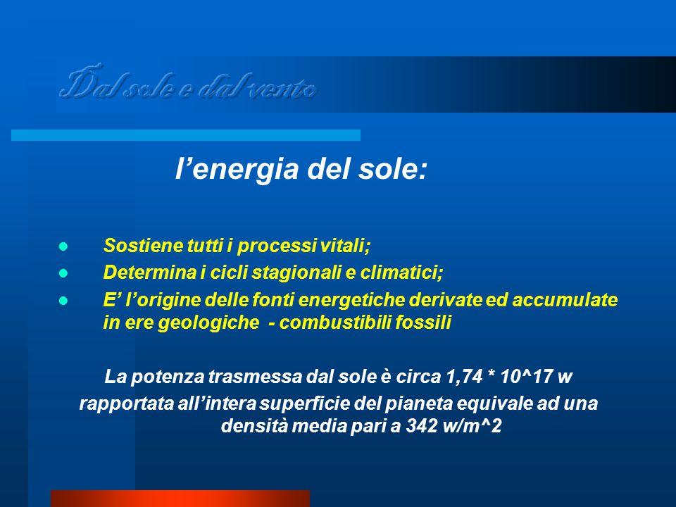 l'energia del sole: Sostiene tutti i processi vitali; Determina i cicli stagionali e climatici; E' l'origine delle fonti energetiche derivate ed accumulate in ere geologiche - combustibili fossili La potenza trasmessa dal sole è circa 1,74 * 10^17 w rapportata all'intera superficie del pianeta equivale ad una densità media pari a 342 w/m^2