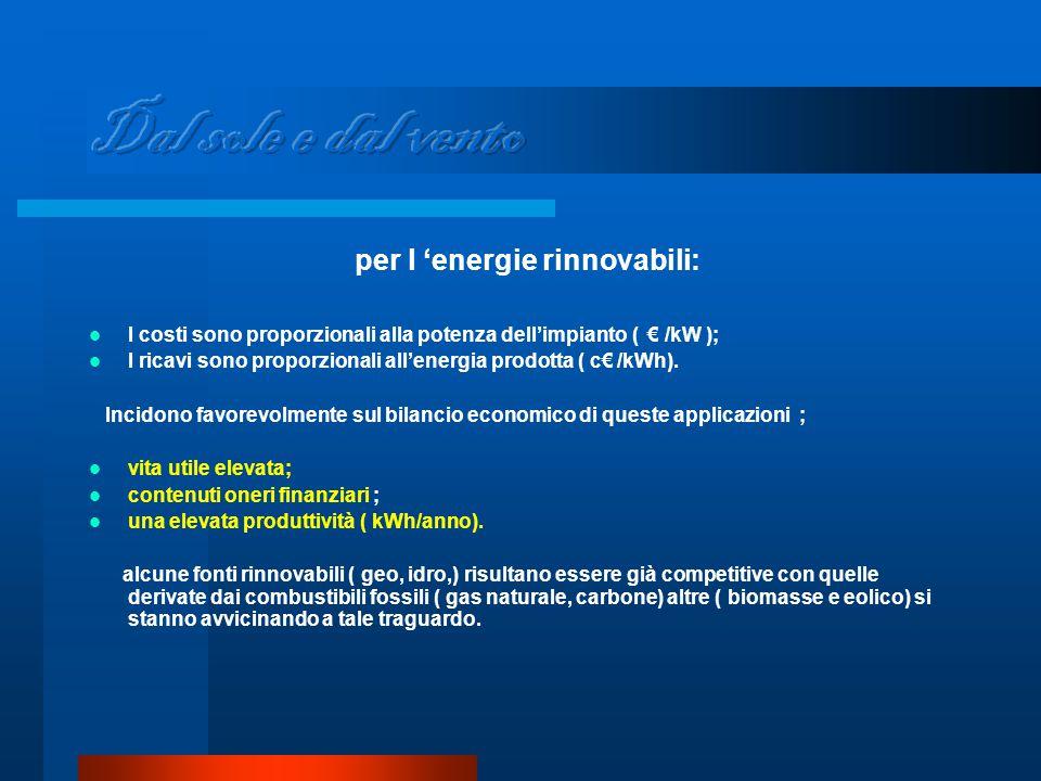 per l 'energie rinnovabili: I costi sono proporzionali alla potenza dell'impianto ( € /kW ); I ricavi sono proporzionali all'energia prodotta ( c€ /kWh).