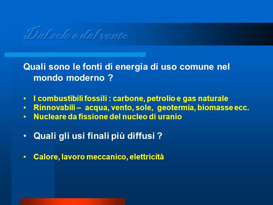 Quali sono le fonti di energia di uso comune nel mondo moderno .