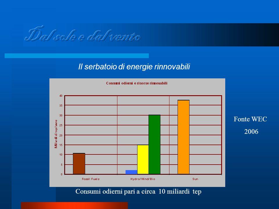 Il serbatoio di energie rinnovabili Consumi odierni pari a circa 10 miliardi tep Fonte WEC 2006