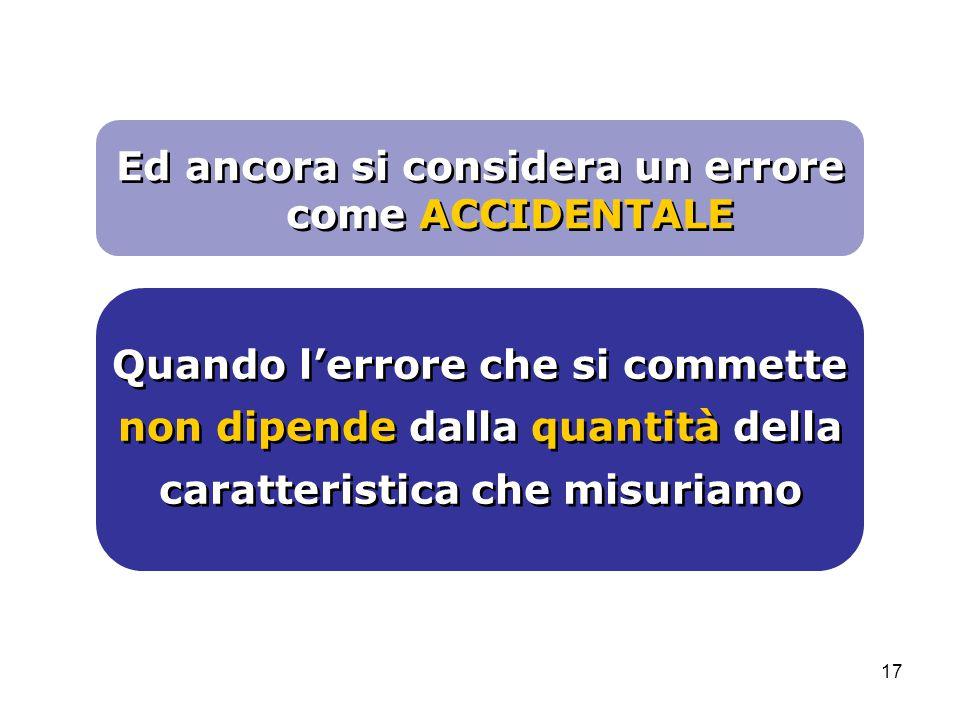 17 Quando l'errore che si commette non dipende dalla quantità della caratteristica che misuriamo Ed ancora si considera un errore come ACCIDENTALE