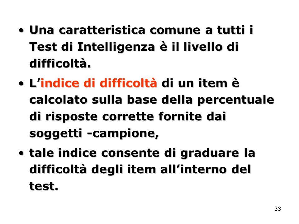 33 Una caratteristica comune a tutti i Test di Intelligenza è il livello di difficoltà.Una caratteristica comune a tutti i Test di Intelligenza è il livello di difficoltà.