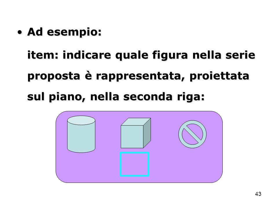 43 Ad esempio:Ad esempio: item: indicare quale figura nella serie proposta è rappresentata, proiettata sul piano, nella seconda riga:
