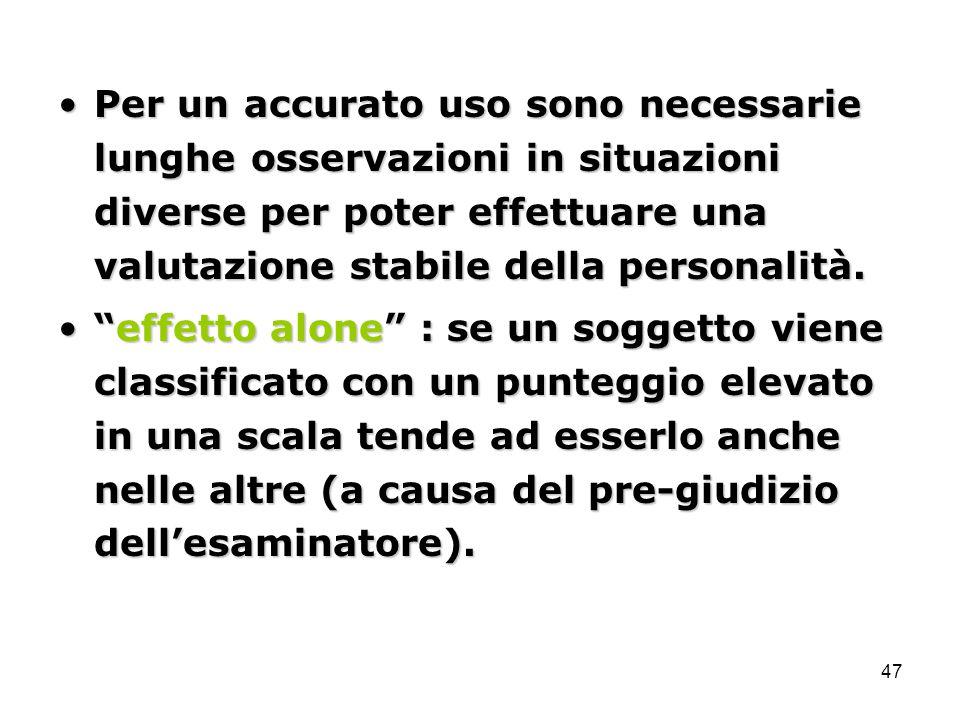 47 Per un accurato uso sono necessarie lunghe osservazioni in situazioni diverse per poter effettuare una valutazione stabile della personalità.Per un