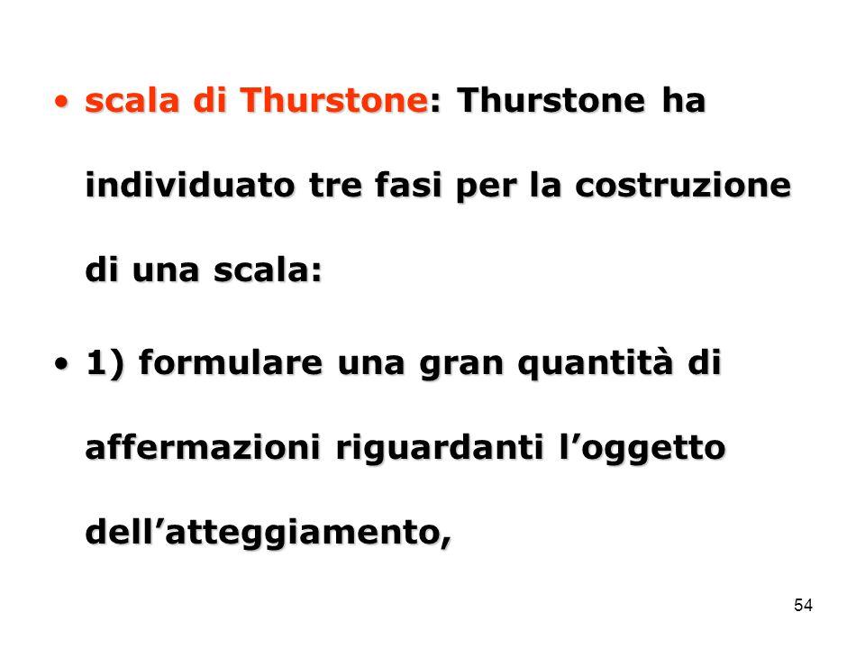 54 scala di Thurstone: Thurstone ha individuato tre fasi per la costruzione di una scala:scala di Thurstone: Thurstone ha individuato tre fasi per la costruzione di una scala: 1) formulare una gran quantità di affermazioni riguardanti l'oggetto dell'atteggiamento,1) formulare una gran quantità di affermazioni riguardanti l'oggetto dell'atteggiamento,
