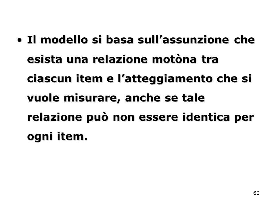 60 Il modello si basa sull'assunzione che esista una relazione motòna tra ciascun item e l'atteggiamento che si vuole misurare, anche se tale relazion