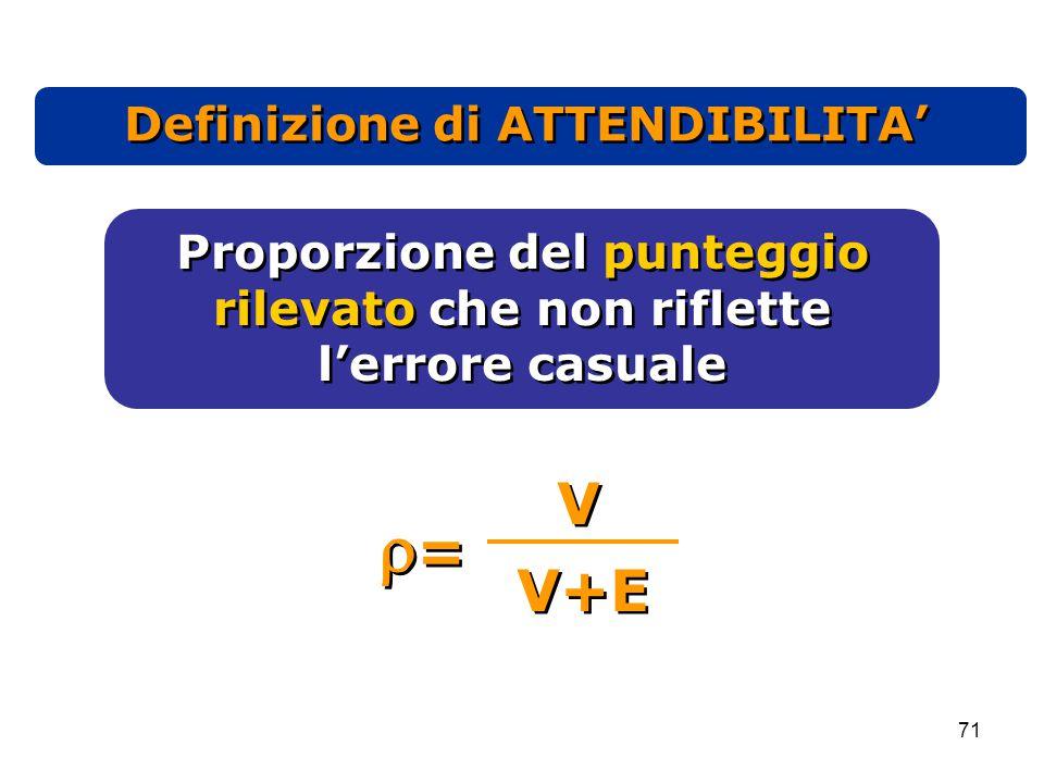 71 Definizione di ATTENDIBILITA' Proporzione del punteggio rilevato che non riflette l'errore casuale Proporzione del punteggio rilevato che non riflette l'errore casuale == == V V V+E
