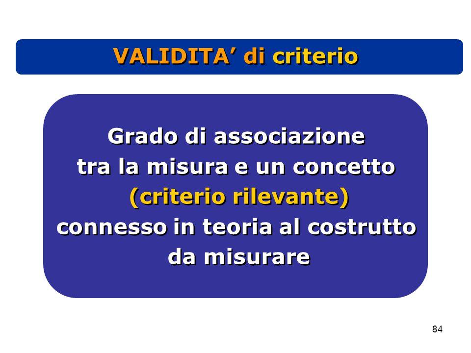 84 Grado di associazione tra la misura e un concetto (criterio rilevante) connesso in teoria al costrutto da misurare Grado di associazione tra la misura e un concetto (criterio rilevante) connesso in teoria al costrutto da misurare VALIDITA' di criterio