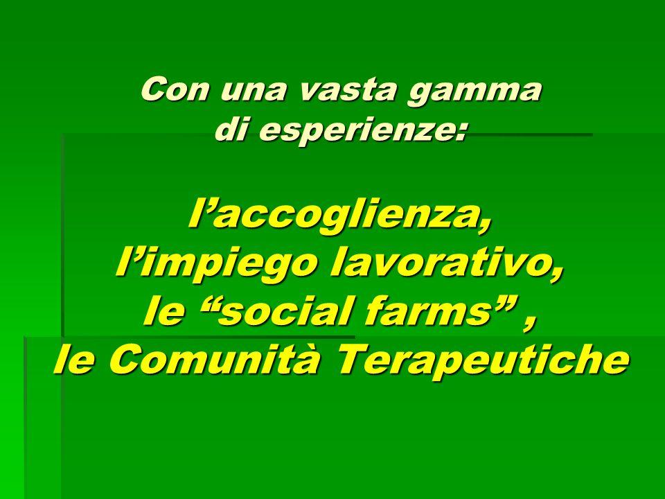 """Con una vasta gamma di esperienze: l'accoglienza, l'impiego lavorativo, le """"social farms"""", le Comunità Terapeutiche"""