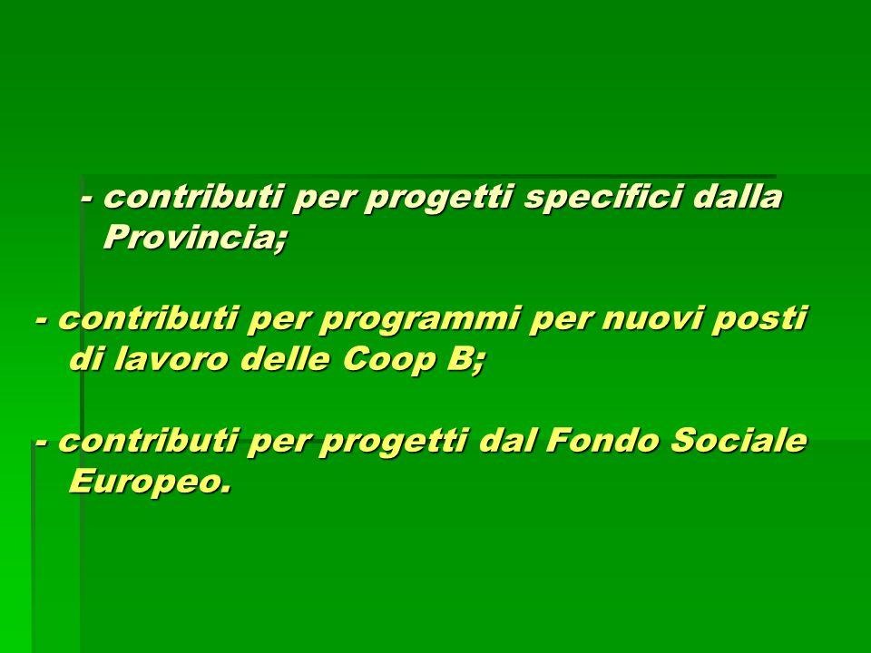 - contributi per progetti specifici dalla Provincia; - contributi per programmi per nuovi posti di lavoro delle Coop B; - contributi per progetti dal