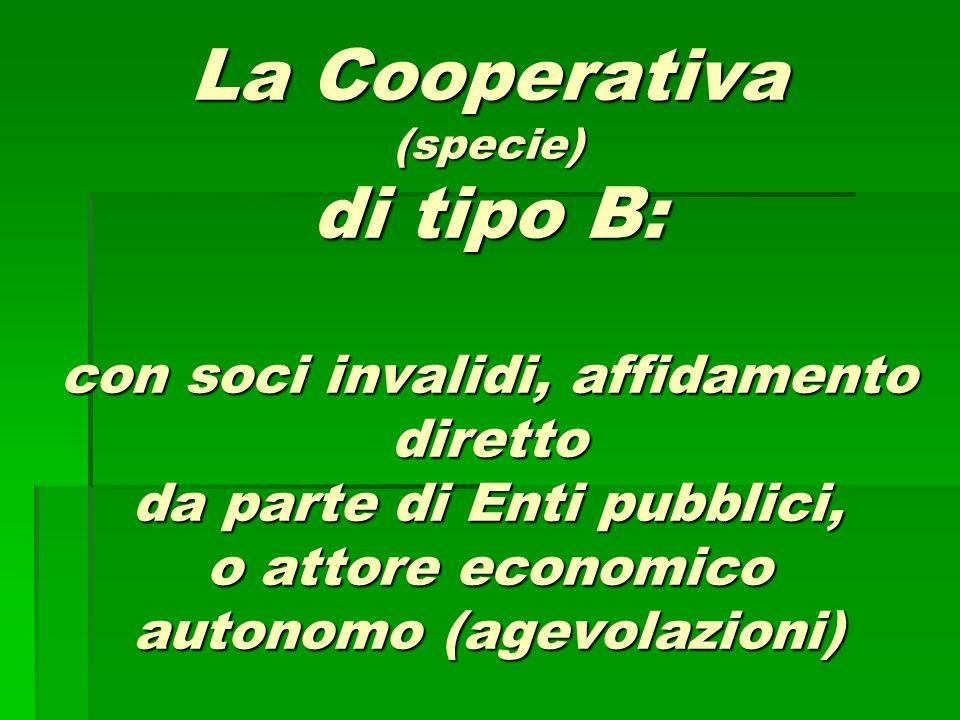 La Cooperativa (specie) di tipo B: con soci invalidi, affidamento diretto da parte di Enti pubblici, o attore economico autonomo (agevolazioni)