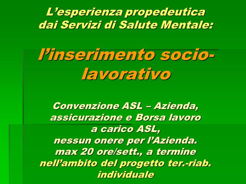 L'esperienza propedeutica dai Servizi di Salute Mentale: l'inserimento socio- lavorativo Convenzione ASL – Azienda, assicurazione e Borsa lavoro a car