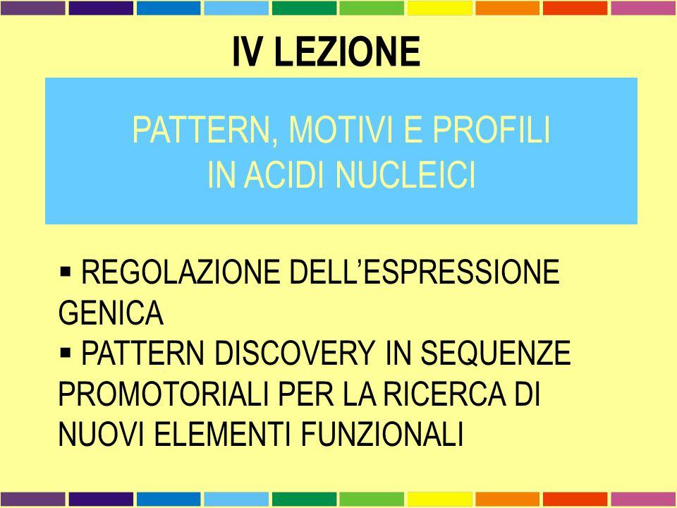 IV LEZIONE PATTERN, MOTIVI E PROFILI IN ACIDI NUCLEICI  REGOLAZIONE DELL'ESPRESSIONE GENICA  PATTERN DISCOVERY IN SEQUENZE PROMOTORIALI PER LA RICER