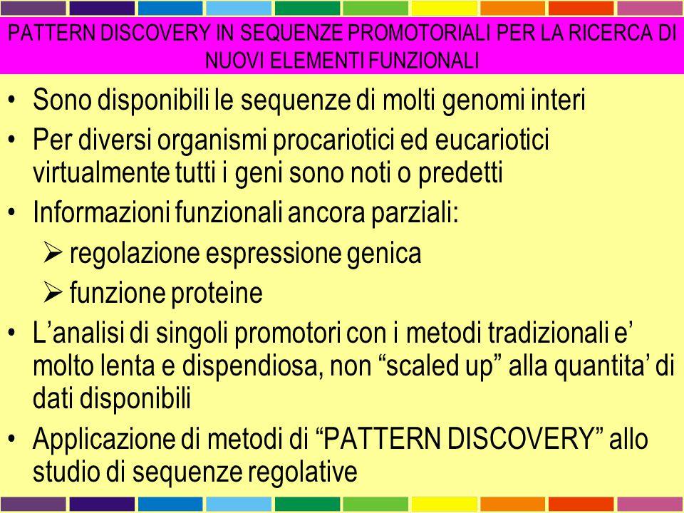 Sono disponibili le sequenze di molti genomi interi Per diversi organismi procariotici ed eucariotici virtualmente tutti i geni sono noti o predetti I