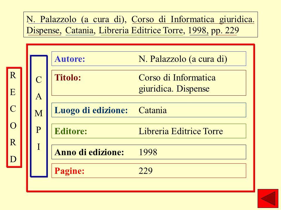 N. Palazzolo (a cura di), Corso di Informatica giuridica.