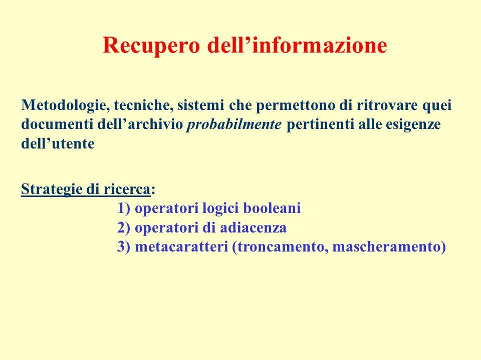 Recupero dell'informazione Metodologie, tecniche, sistemi che permettono di ritrovare quei documenti dell'archivio probabilmente pertinenti alle esigenze dell'utente Strategie di ricerca: 1) operatori logici booleani 2) operatori di adiacenza 3) metacaratteri (troncamento, mascheramento)
