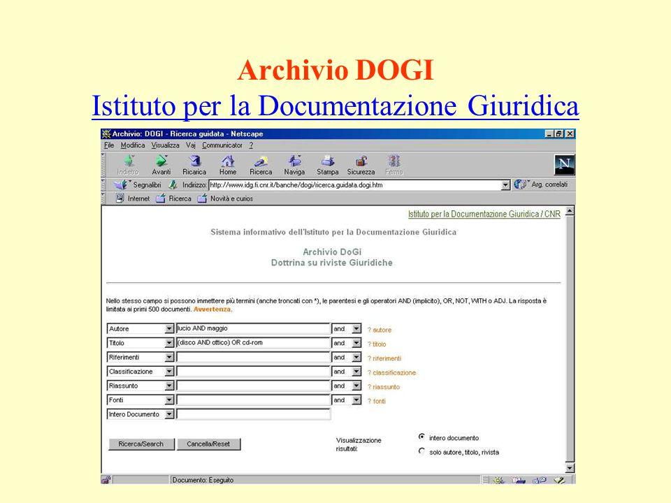 Archivio DOGI Istituto per la Documentazione Giuridica Istituto per la Documentazione Giuridica