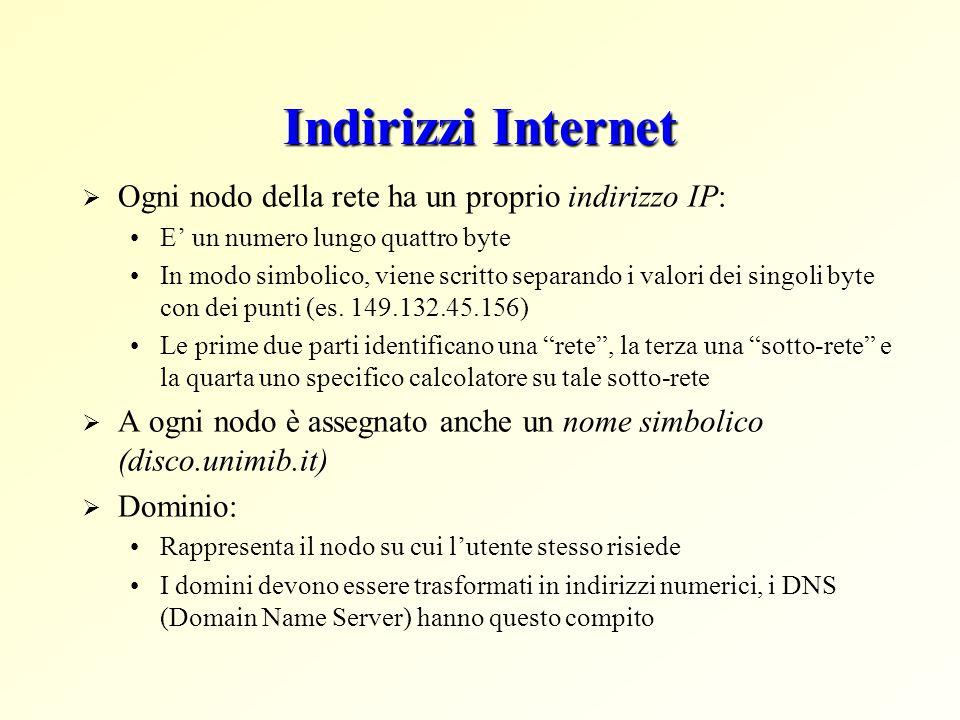 Indirizzi Internet  Ogni nodo della rete ha un proprio indirizzo IP: E' un numero lungo quattro byte In modo simbolico, viene scritto separando i valori dei singoli byte con dei punti (es.