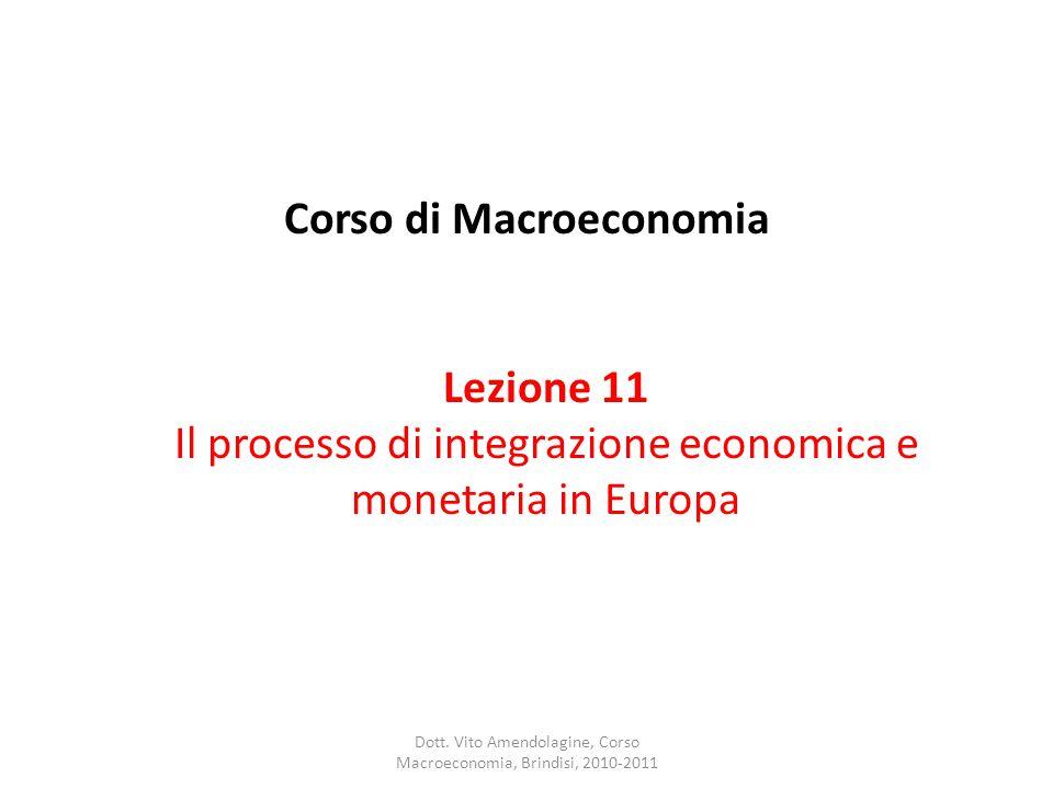 Corso di Macroeconomia Lezione 11 Il processo di integrazione economica e monetaria in Europa Dott.