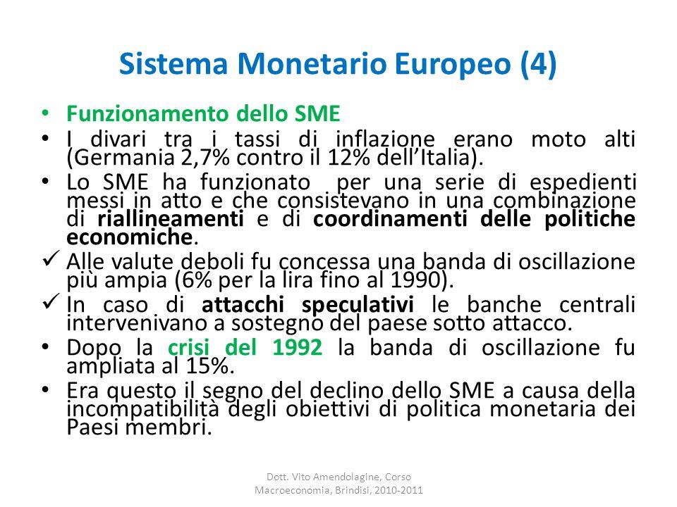 Sistema Monetario Europeo (4) Funzionamento dello SME I divari tra i tassi di inflazione erano moto alti (Germania 2,7% contro il 12% dell'Italia).