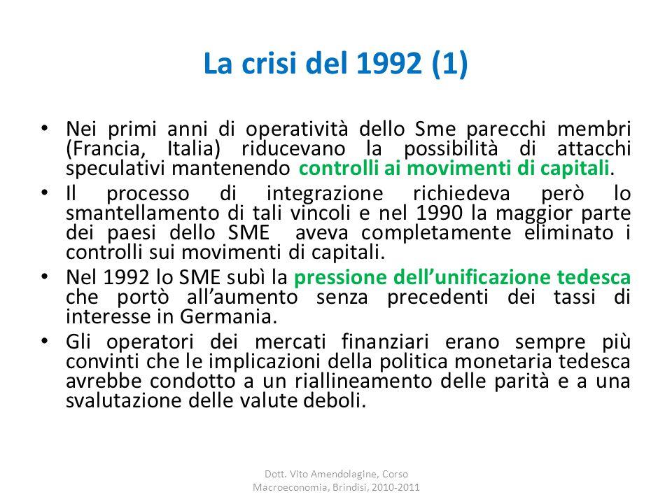 La crisi del 1992 (1) Nei primi anni di operatività dello Sme parecchi membri (Francia, Italia) riducevano la possibilità di attacchi speculativi mantenendo controlli ai movimenti di capitali.