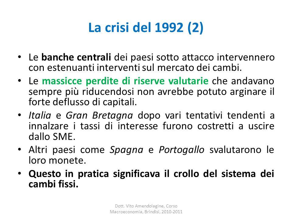 La crisi del 1992 (2) Le banche centrali dei paesi sotto attacco intervennero con estenuanti interventi sul mercato dei cambi.
