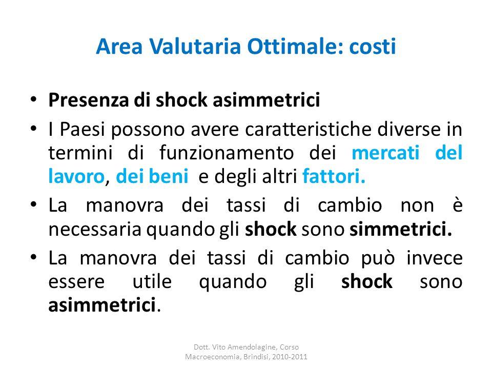 Area Valutaria Ottimale: costi Presenza di shock asimmetrici I Paesi possono avere caratteristiche diverse in termini di funzionamento dei mercati del lavoro, dei beni e degli altri fattori.