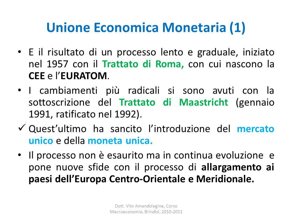 Unione Economica Monetaria (1) E il risultato di un processo lento e graduale, iniziato nel 1957 con il Trattato di Roma, con cui nascono la CEE e l'EURATOM.