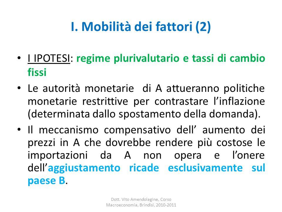 I. Mobilità dei fattori (2) I IPOTESI: regime plurivalutario e tassi di cambio fissi Le autorità monetarie di A attueranno politiche monetarie restrit