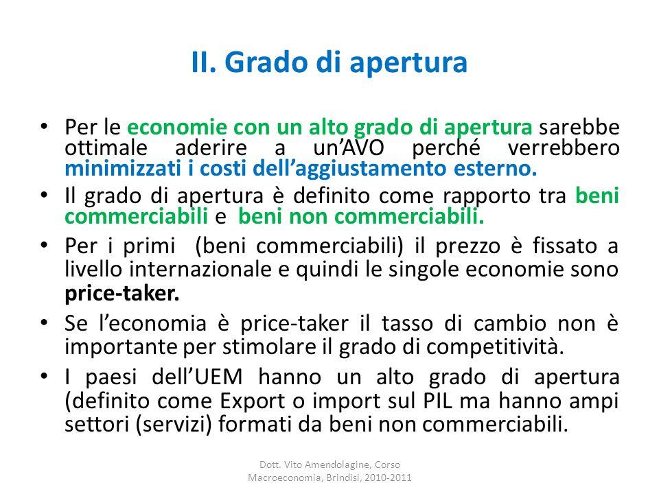 II. Grado di apertura Per le economie con un alto grado di apertura sarebbe ottimale aderire a un'AVO perché verrebbero minimizzati i costi dell'aggiu