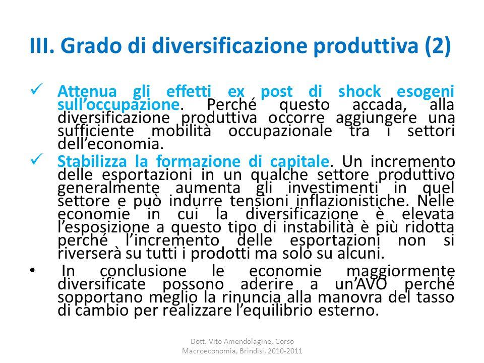 III. Grado di diversificazione produttiva (2) Attenua gli effetti ex post di shock esogeni sull'occupazione. Perché questo accada, alla diversificazio